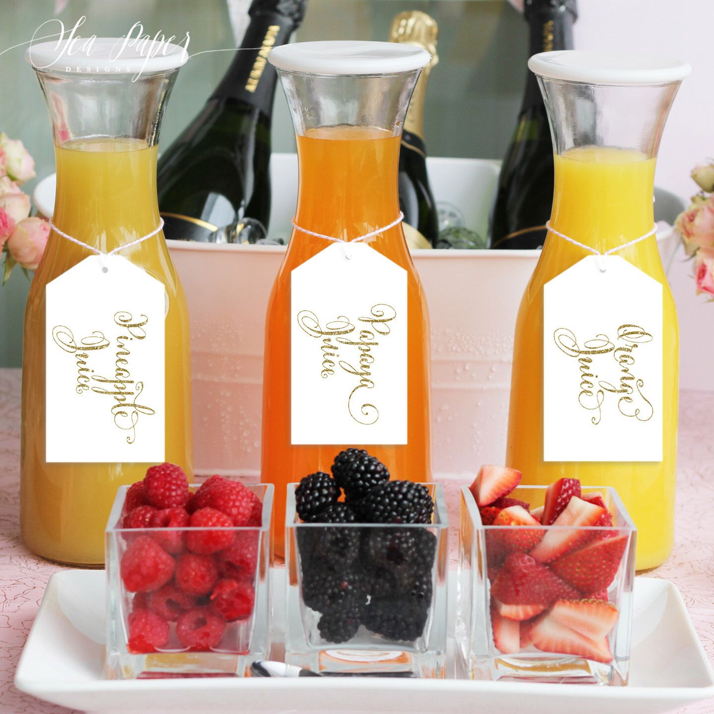 Mimosa Bar Juice Drink Tags Mimosa Bar Labels For Bubbly Champagne Bars At Bridal Shower Wedding Party White Gold Glitter Mia Champagne Brunch Birthday Brunch Bubbly Bar