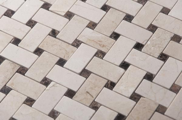 Crema Marfil Marble Mosaic Tile 1x2 Basketweave Strips With Dark Emperador Accent Squares Polished Mosaic Tiles Marble Mosaic Tiles Marble Mosaic