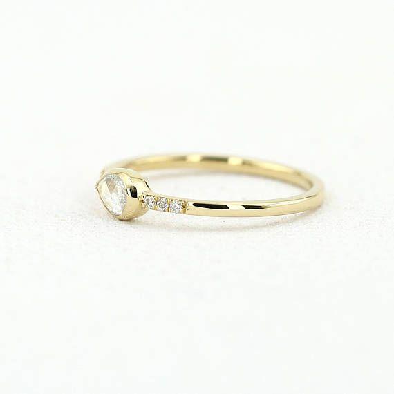 Rose Cut Diamond Ring 14k Gold Pear Shape Rosecut Diamond