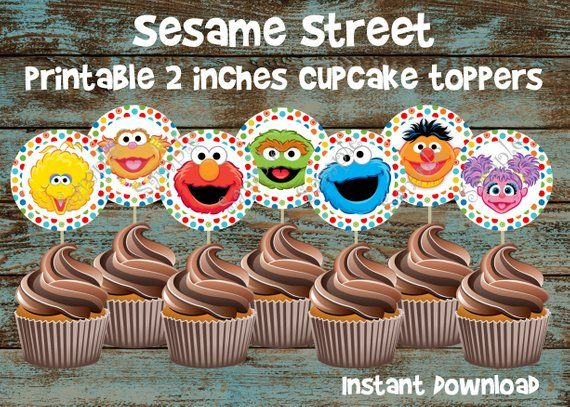 Sesame Street Printable Cupcake Toppers Birthday Party Supplies Topper