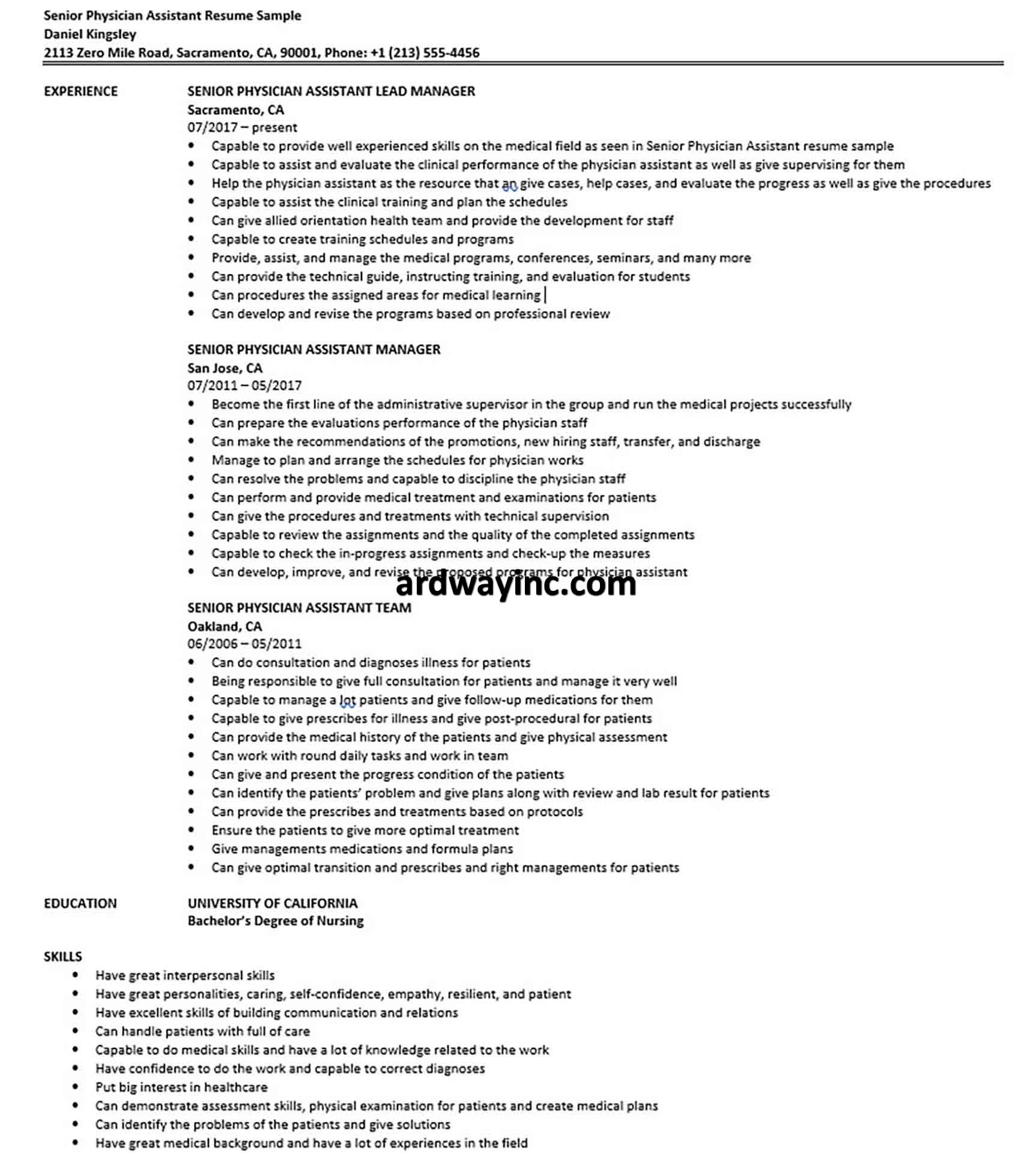 senior physician assistant resume sample high school job examples esl teacher cv example for download