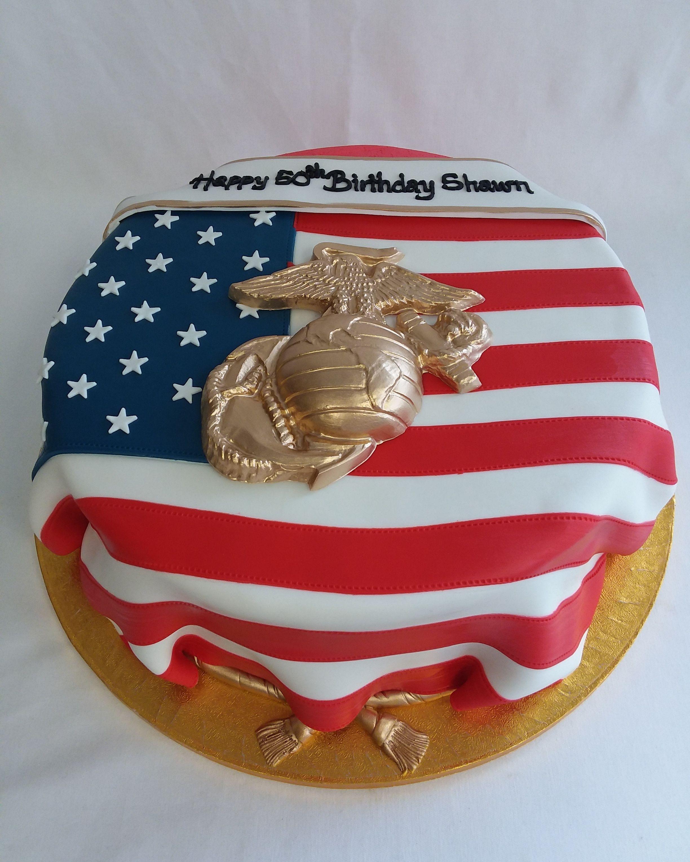 Cake iced in buttercream with handmade fondant USflag
