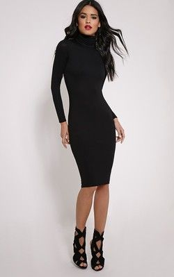 basic black roll neck midi dress  dresses black midi