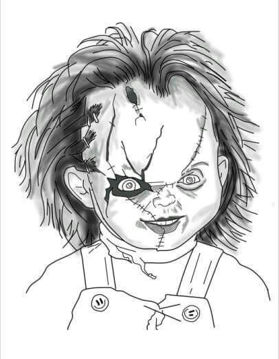 Resultado De Imagen Para Dibujos De Chucky El Muneco Diabolico Para Colorear Scary Drawings Horror Movie Art Horror Artwork