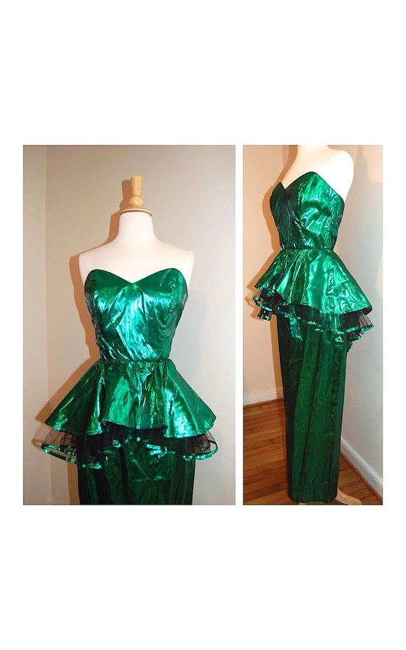 80s Prom Dress Metallic Emerald Peplum Dress 1980 S Wicked