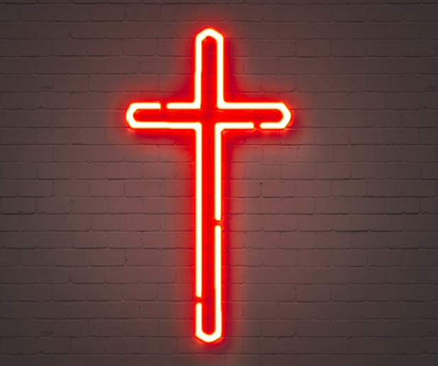 Red neon cross. Sign of Christianity jesus christianity