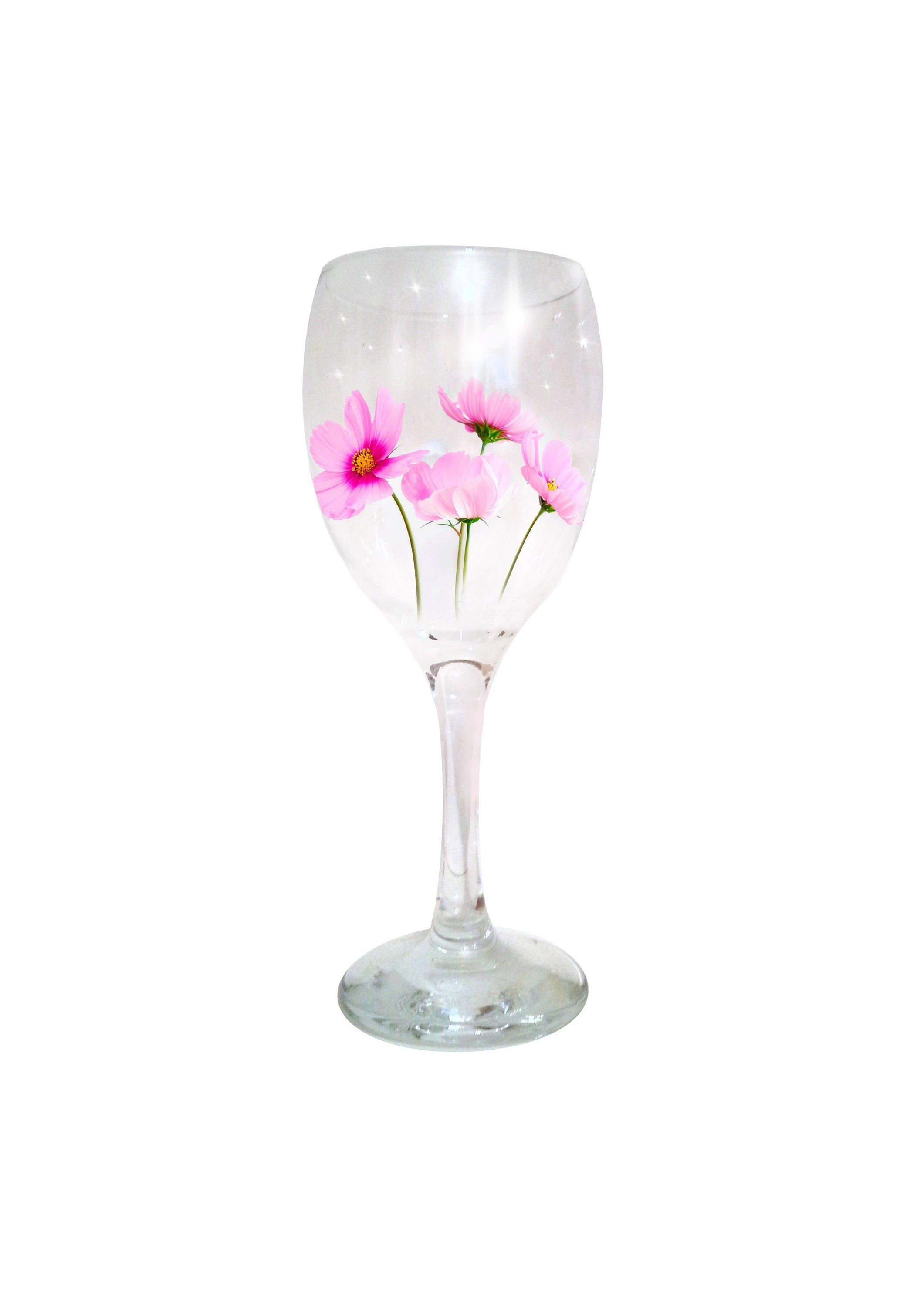 Floral Wine Glass Hand Painted Flowers Wine Glass Handmade Flower