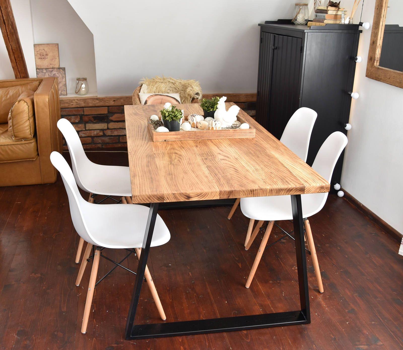 Hand crafted seater farmhouse style modern oak wood u black steel
