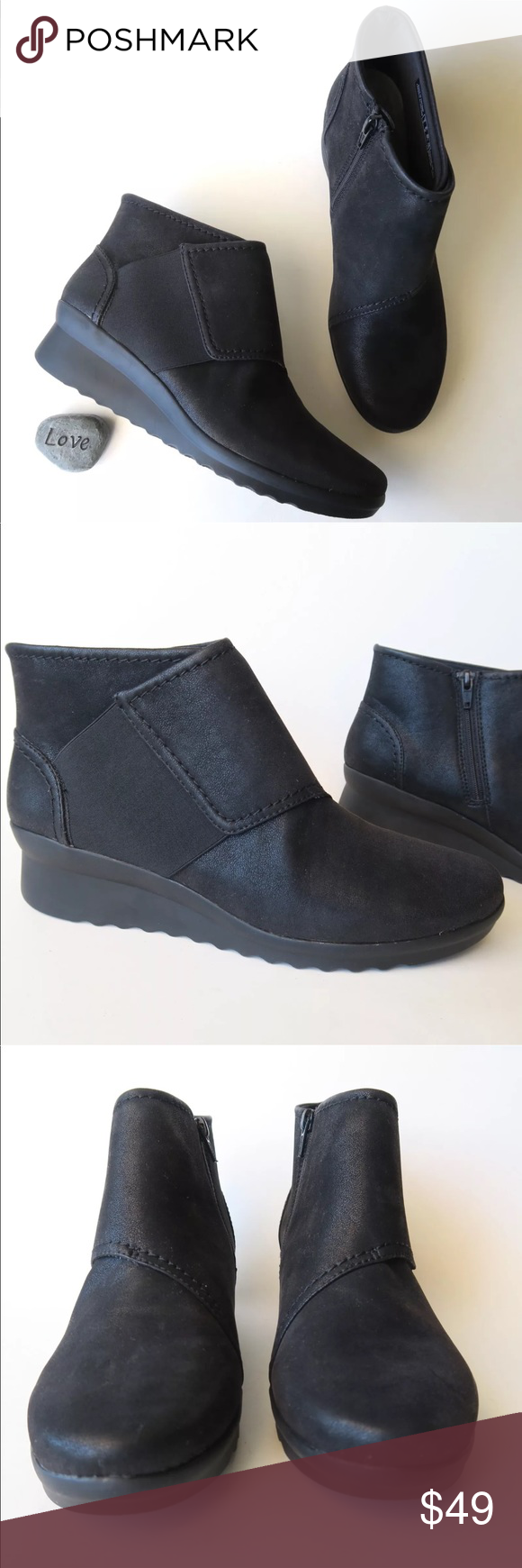 a461952f466f Cloud Steppers by Clarks Womens Black Booties NWOB Cloud Steppers by Clarks  Women s Sz 8.5 M Black Wedge Caddell Rush Booties NWOB New without box.