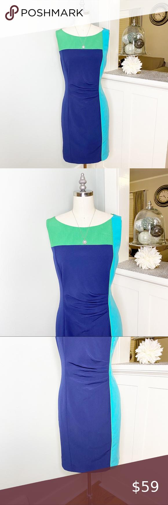 Vince Camuto Navy Green Colorblock Sheath Dress Navy And Green Stretchy Dress Sheath Dress [ 1740 x 580 Pixel ]