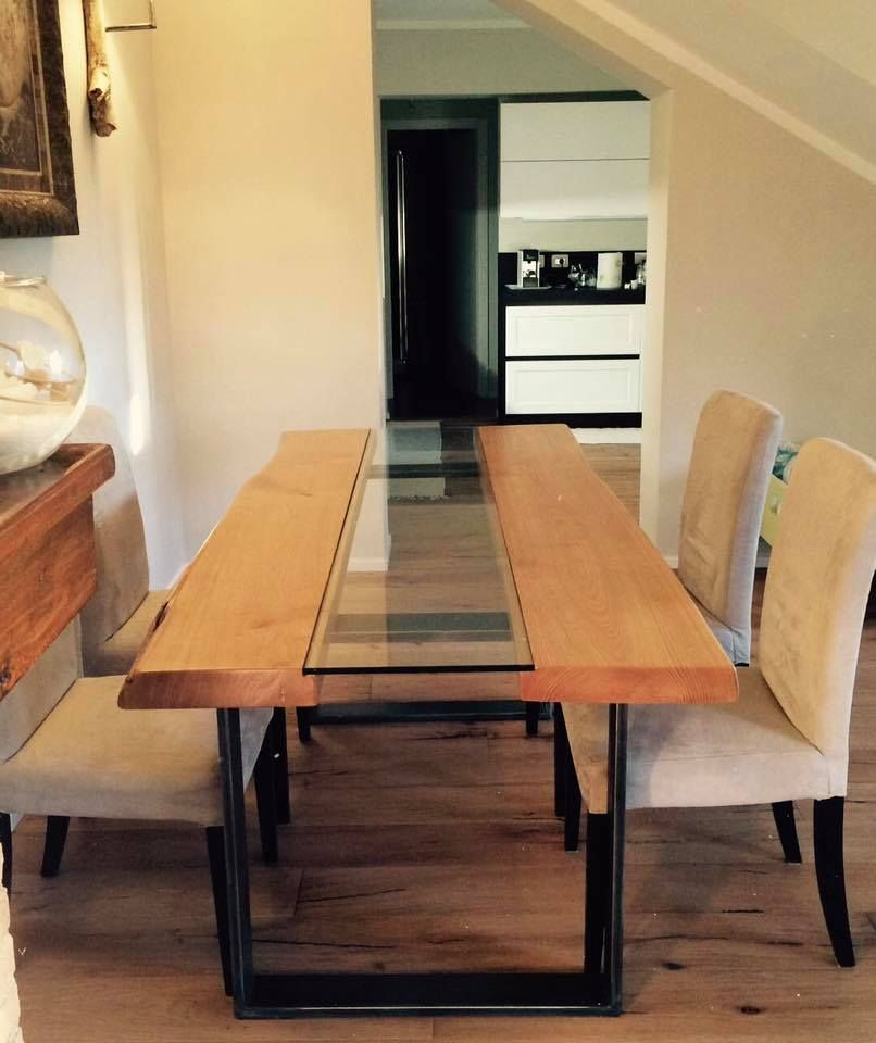 Tavolo di design in legno massello di castagno con