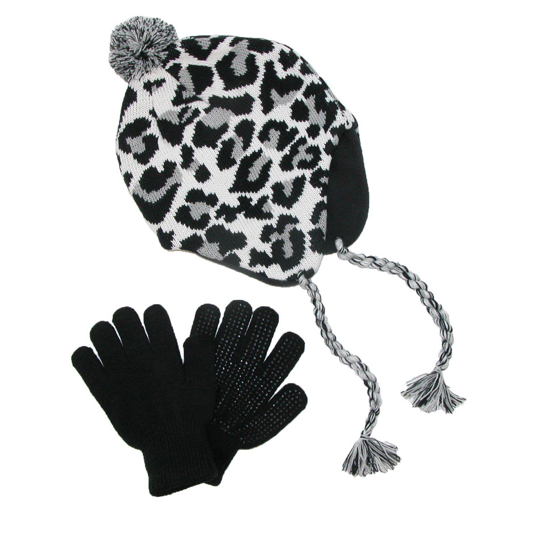 6dafeacc057 CTM Girls    Teens  Fleece Lined Animal Print Hat and Glove Set ...