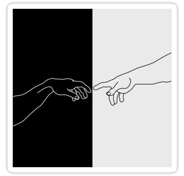 Hands showing the creation of Adam Sticker