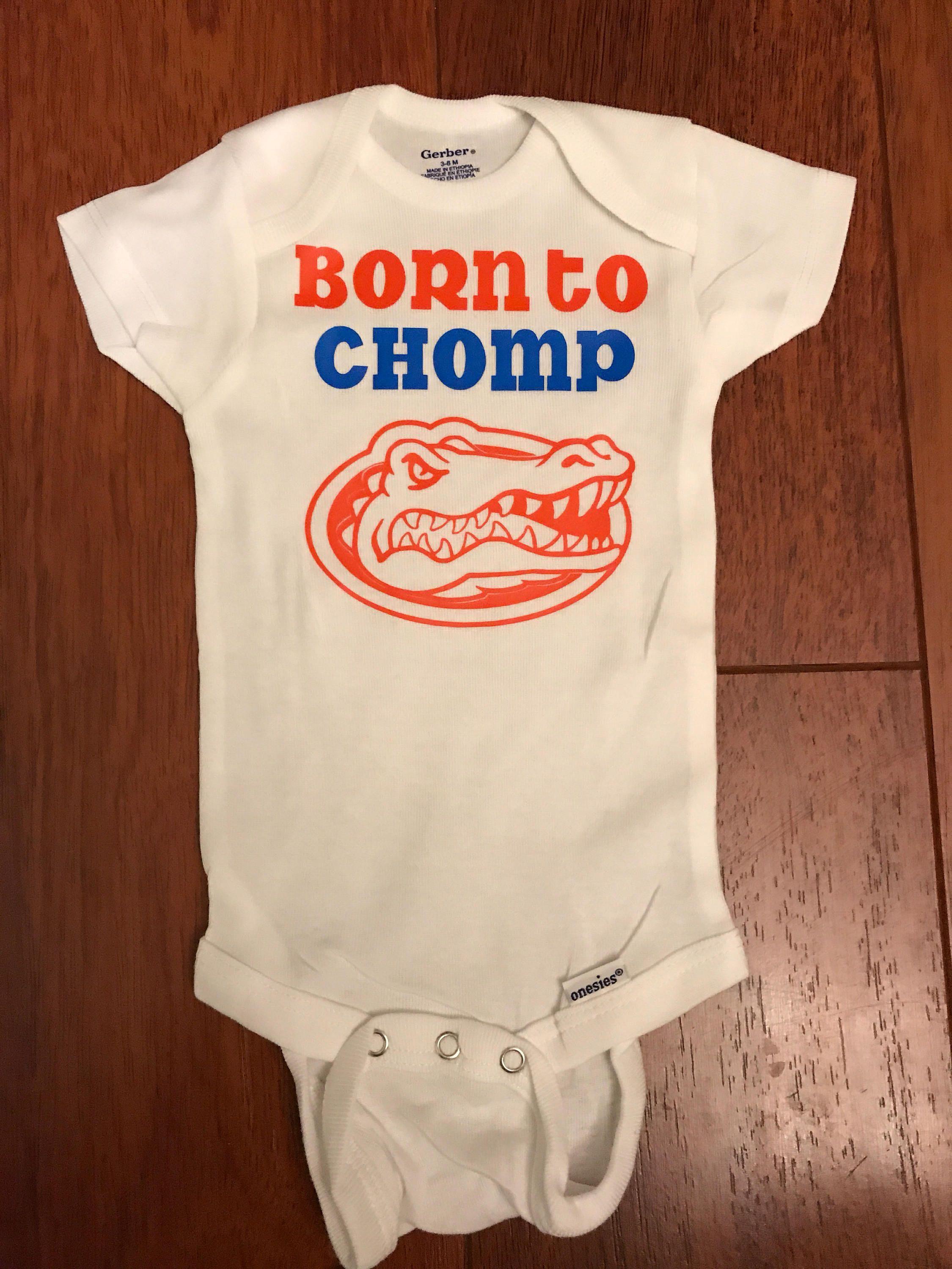 Born Chomp Florida Gators Baby Onesie Bodysuit Gator