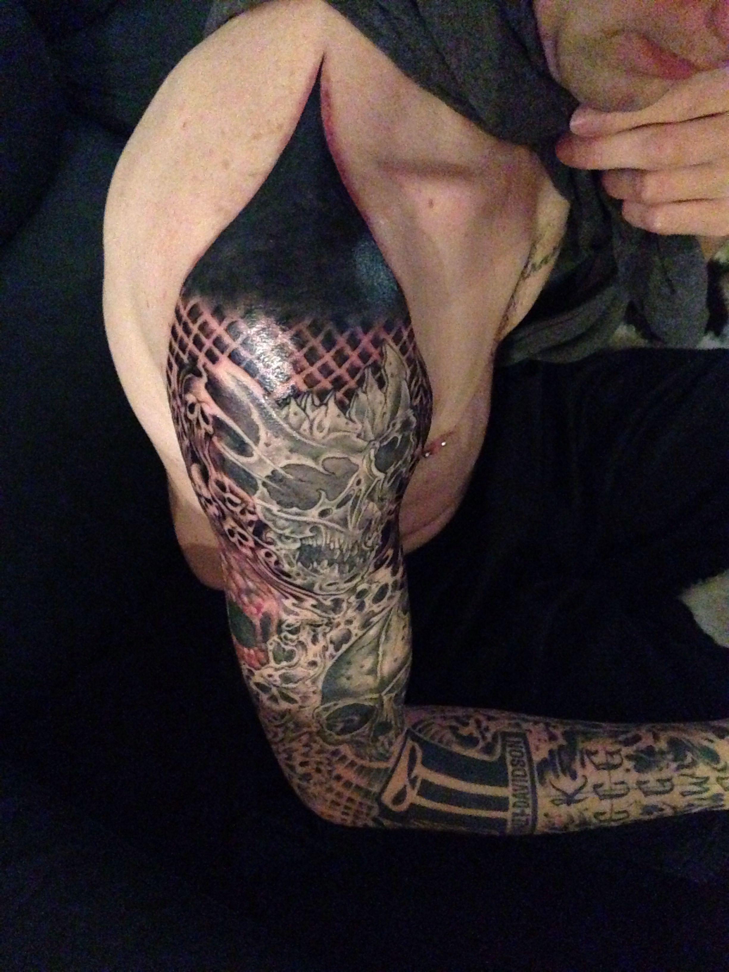 Finished sleeve skulls harley davidson ink tattoo