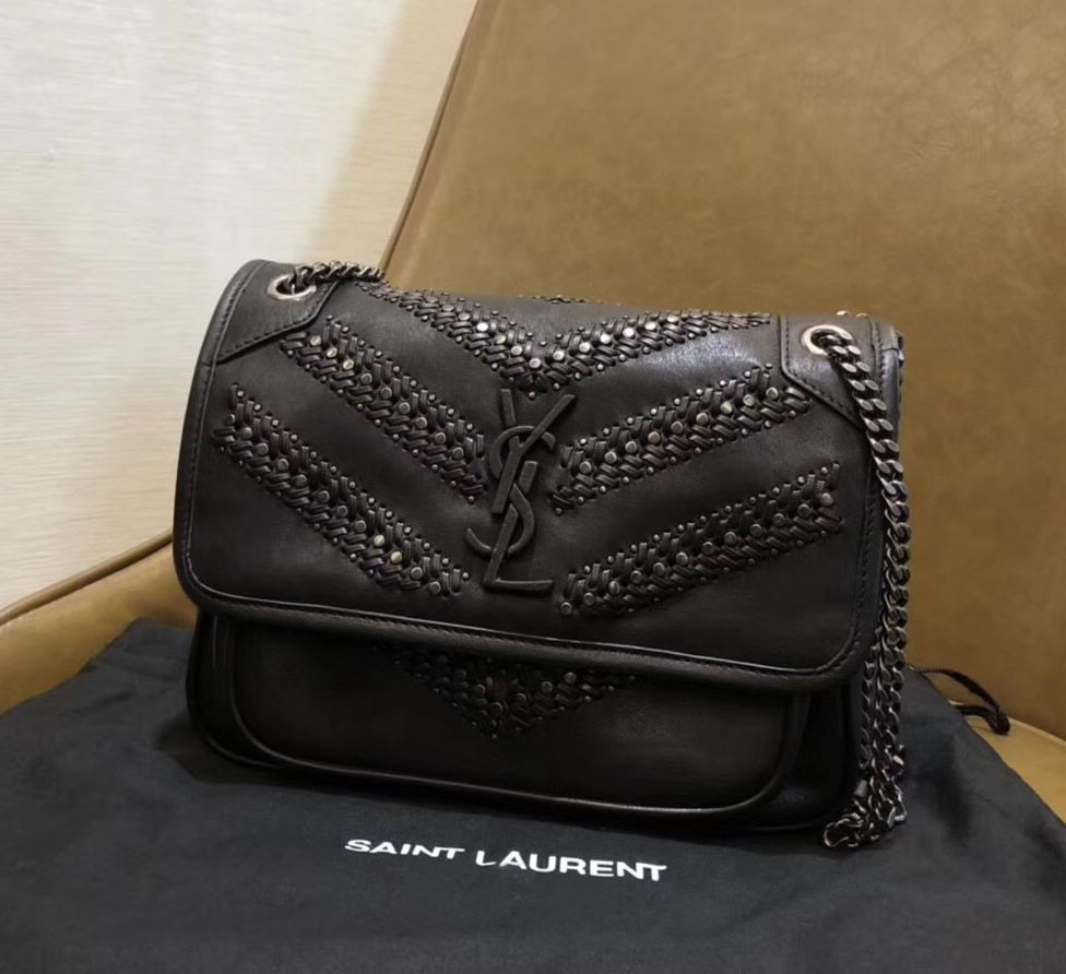 Saint Laurent Baby Niki Chain Bag In Vintage Leather Braided And Stud Detailing Chain Bags Ysl Bag Bag Sale