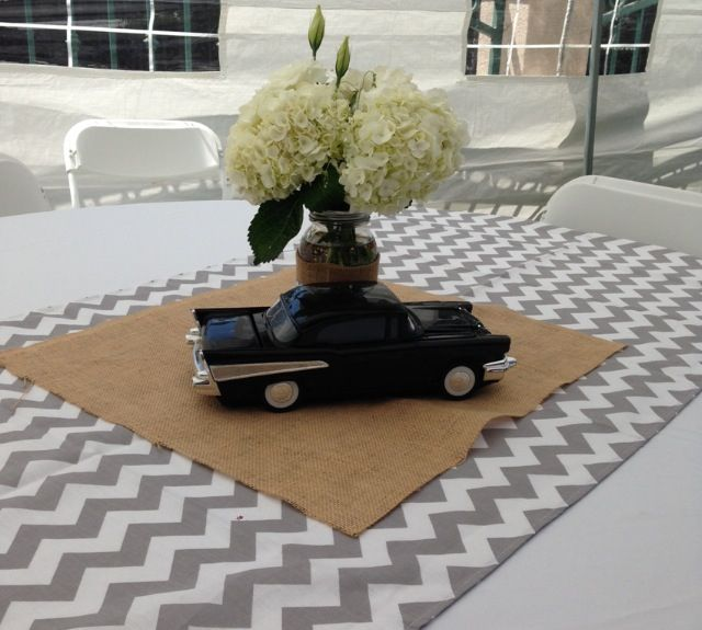 Vintage car baby shower using chevron stripes