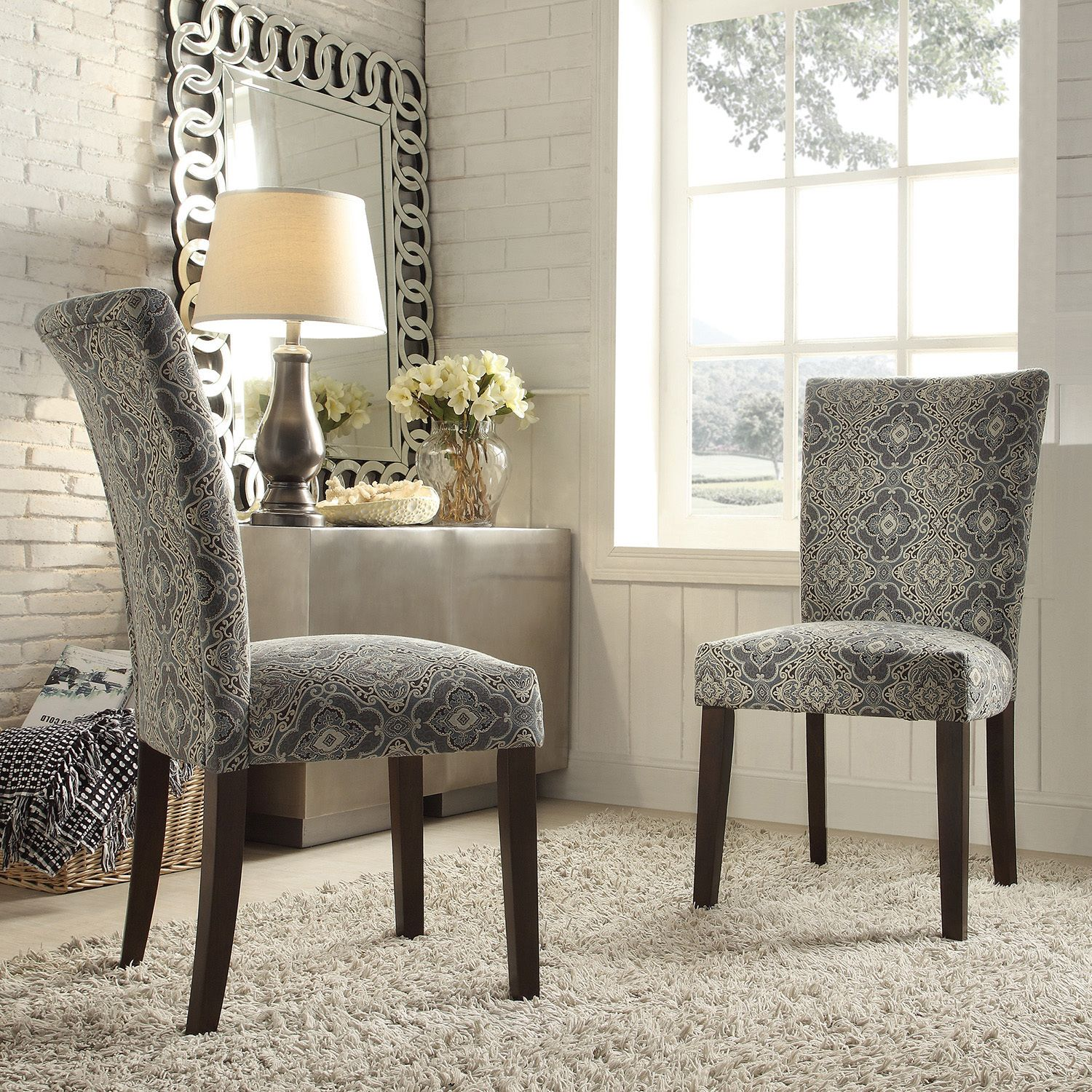 Beautiful Room · INSPIRE Q Catherine Blue Damask Parsons Dining Chair ...