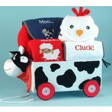 Cow & Friends Wagon & Layette Baby Gift