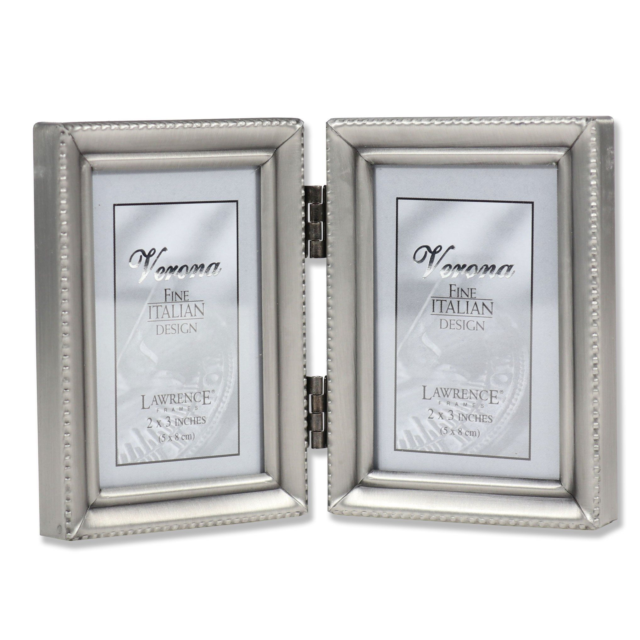 Lawrence Frames Antique Pewter Hinged Double 2x3 Picture Frame ...