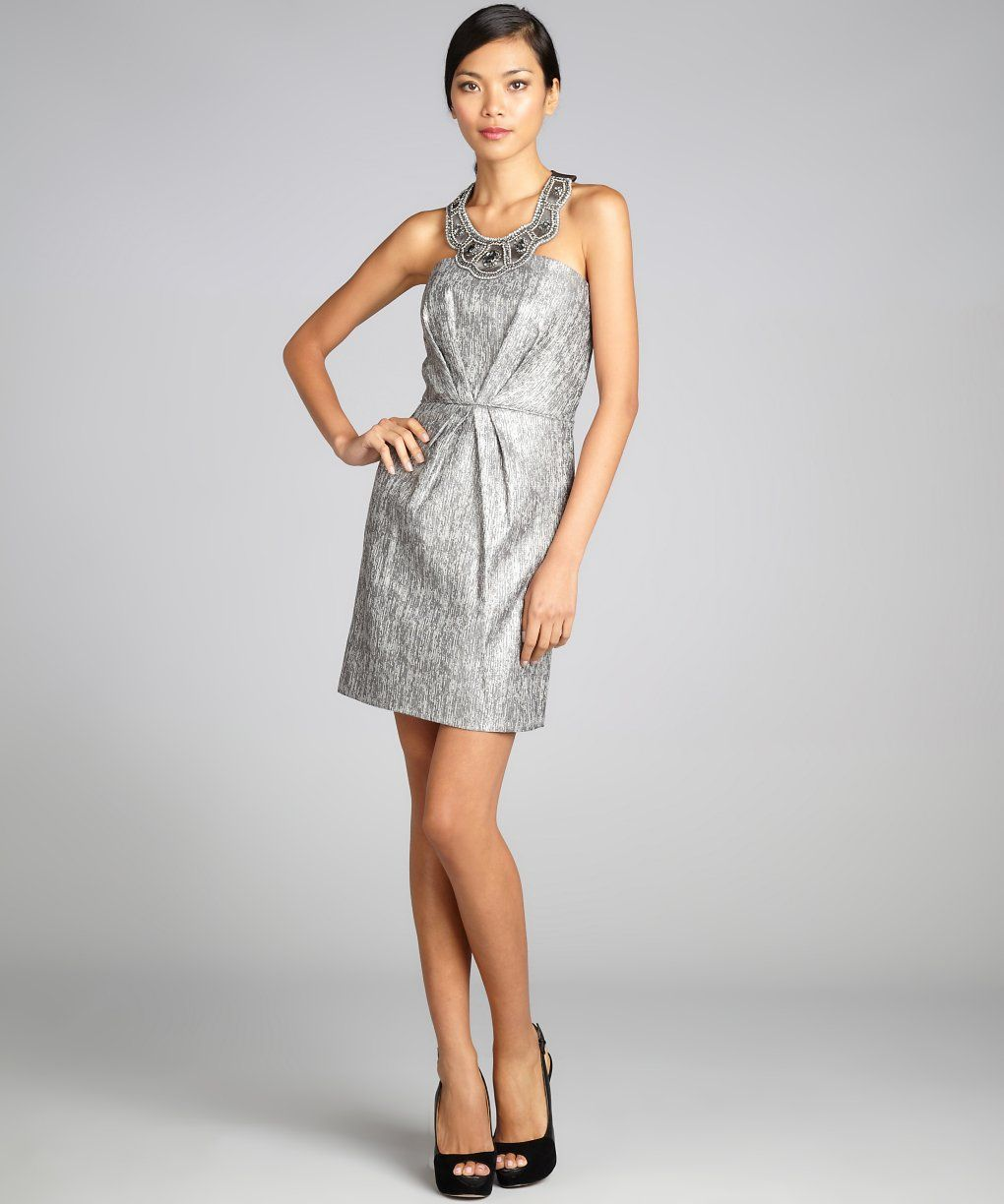 Laundry by shelli segal steel jeweled scalloped halter party dress
