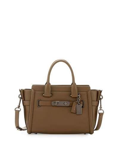 369b4cf1cc COACH SWAGGER 27 LEATHER SATCHEL BAG.  coach  bags  shoulder bags  hand  bags  leather  satchel  lining