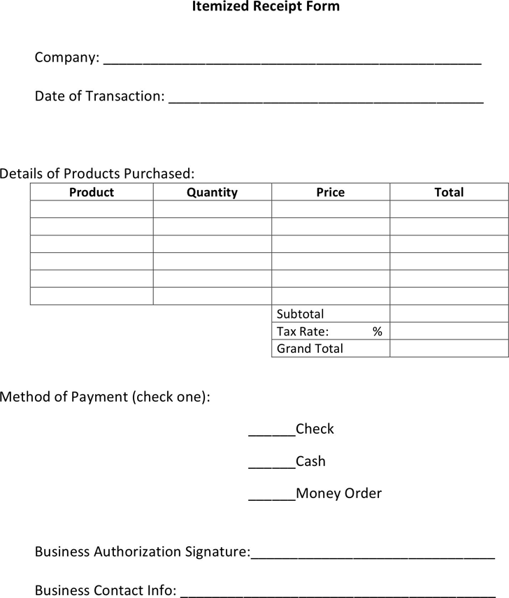 11 Itemized Receipt Templates Free Printable Word Excel