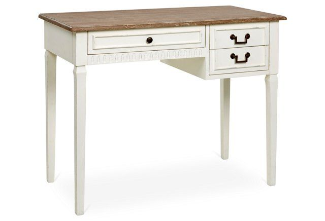 Luca Writing Desk, Antique White/Brown - Luca Writing Desk, Antique White/Brown Home Office & Bookcase