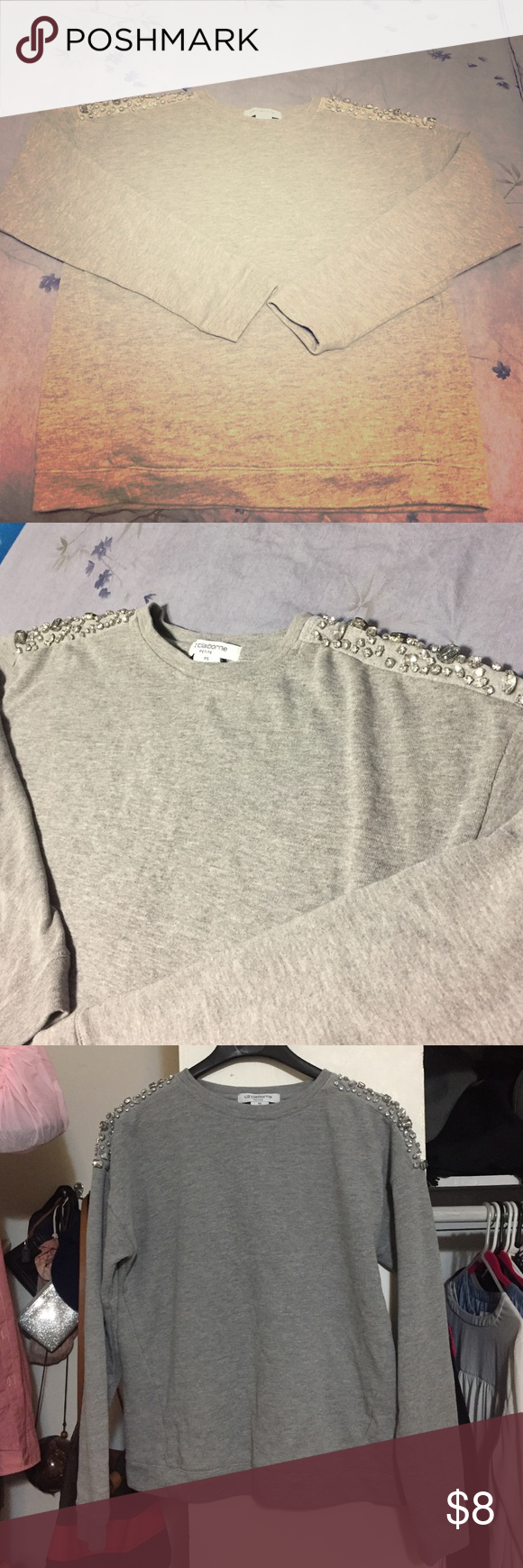 Liz Claiborne sweater Gray casual/dressy Liz Claiborne swear with jewels on shoulder. It's a petite small. Liz Claiborne Sweaters Crew & Scoop Necks