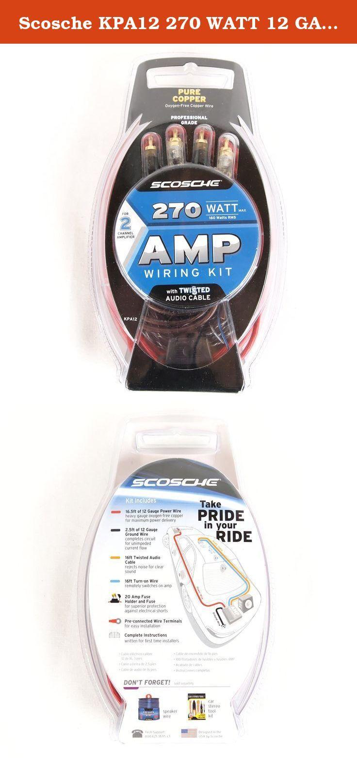 Scosche Kpa12 270 Watt 12 Gauge Wiring Kit For Single Amplifier Car Stereo Harness