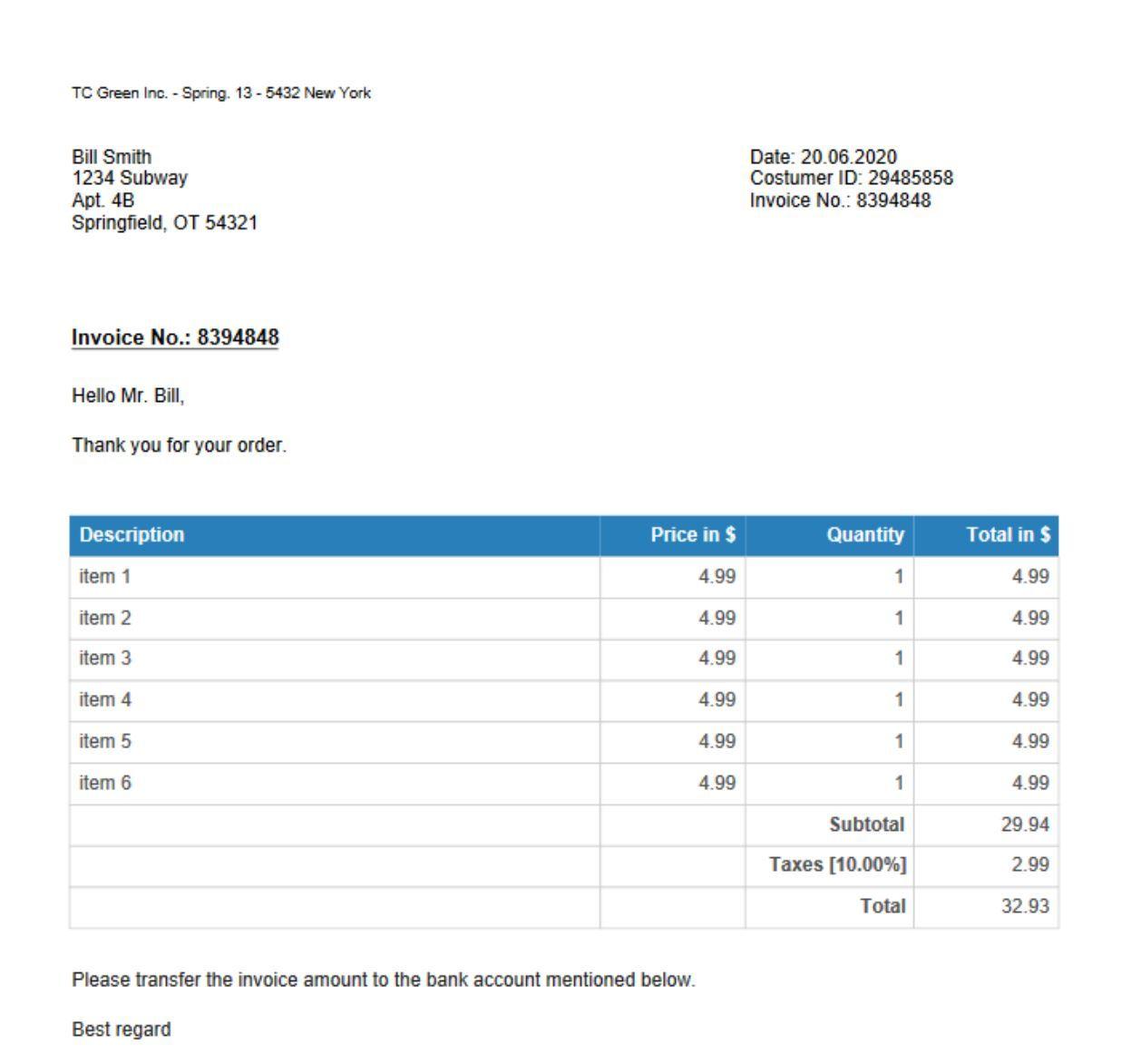 Receipt Template Created With Httpreceiptmakerorgeninvoice - Bill creator app