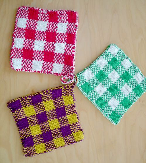 Free Knitting Pattern For Gingham Plaid Potholders Double Knit