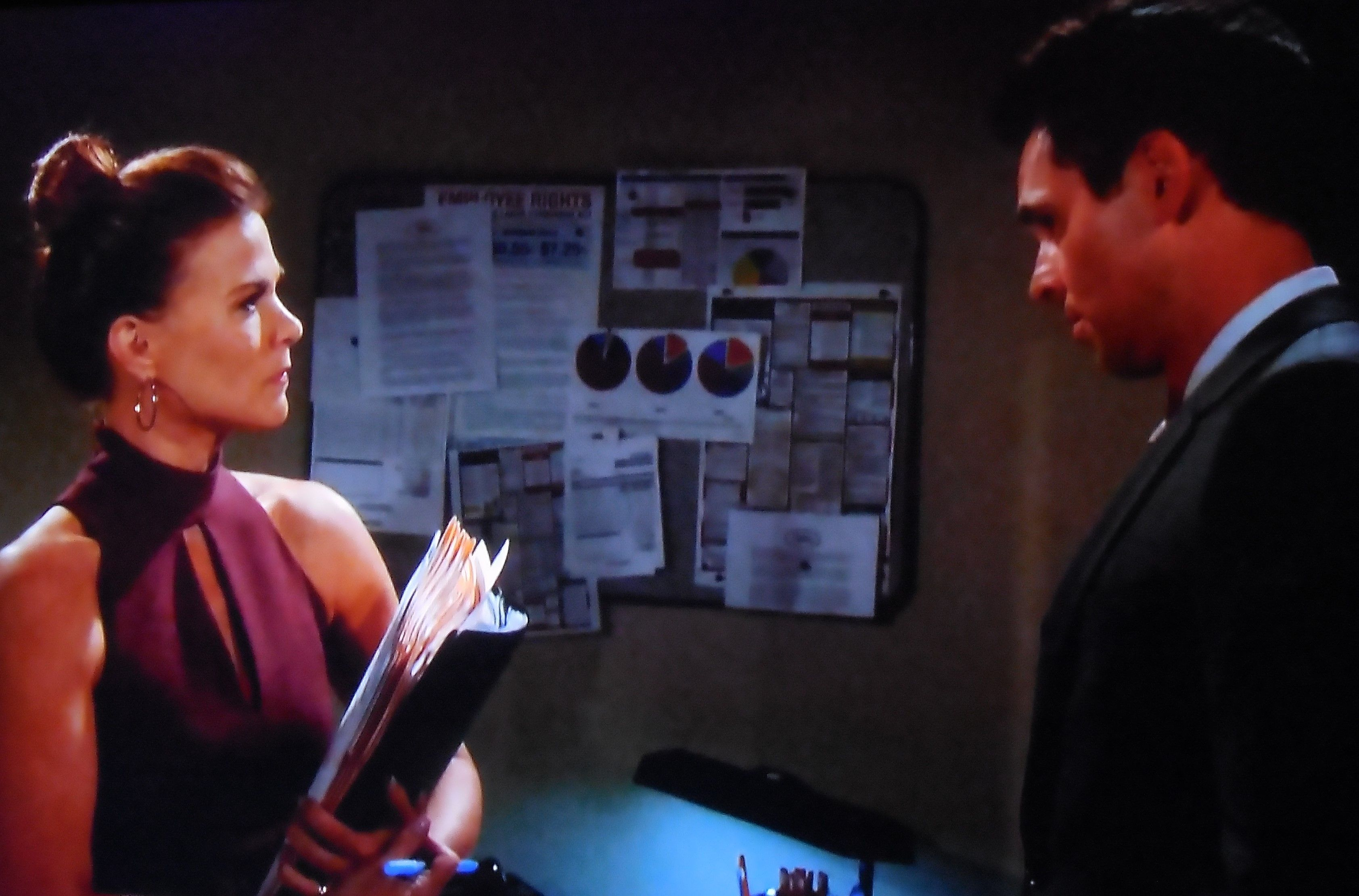 """Billy asks Phyllis, """"Is this real?....you, here, working for Jack in his offices again?"""""""