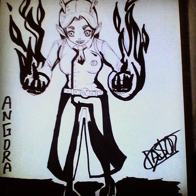 Días de #dibujos en colaboración con mi primo y amigo #pastorrojas...esta es #angora la #dragona y es un #originalcharacter de ambos #:3 #artsy #trade #tradicional #fusion #follow4follow  #followart #firec#firegirl #skesa #artist