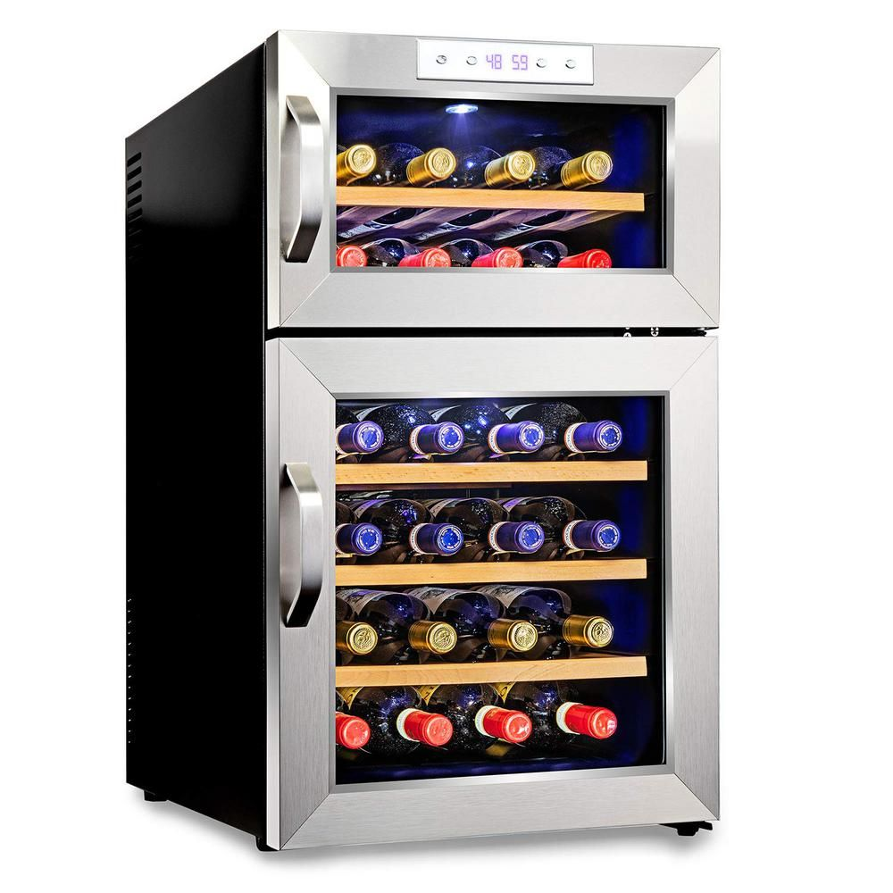 Ivation Stainless Steel 24 Bottle Dual Zone Thermoelectric Wine Cooler Fridge Cellar Refrigerator W Digital Temperature Stainless Steel Glass Front Thermoelectric Wine Cooler Wine Cooler Fridge Wine Refrigerator