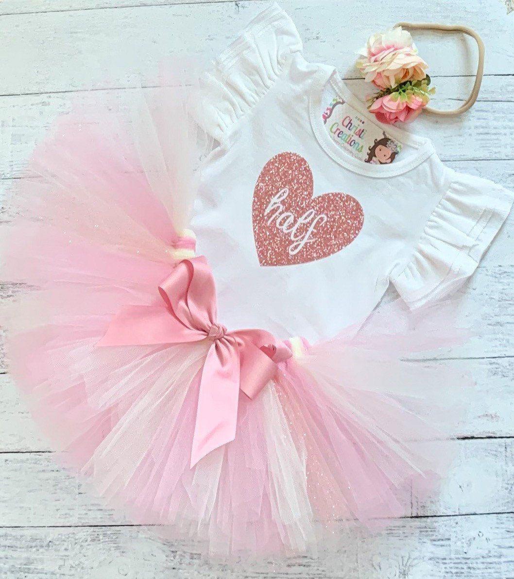 Baby Girl half Birthday Outfit, Rose Gold 1/2 Birthday