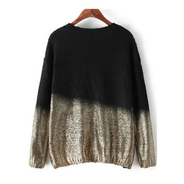 Bat Sleeve Black Gold Sweater (190 SEK) ❤ liked on Polyvore featuring tops, sweaters, batwing sleeve sweater, bat sleeve sweater, gold top, batwing sleeve tops and bat sleeve tops