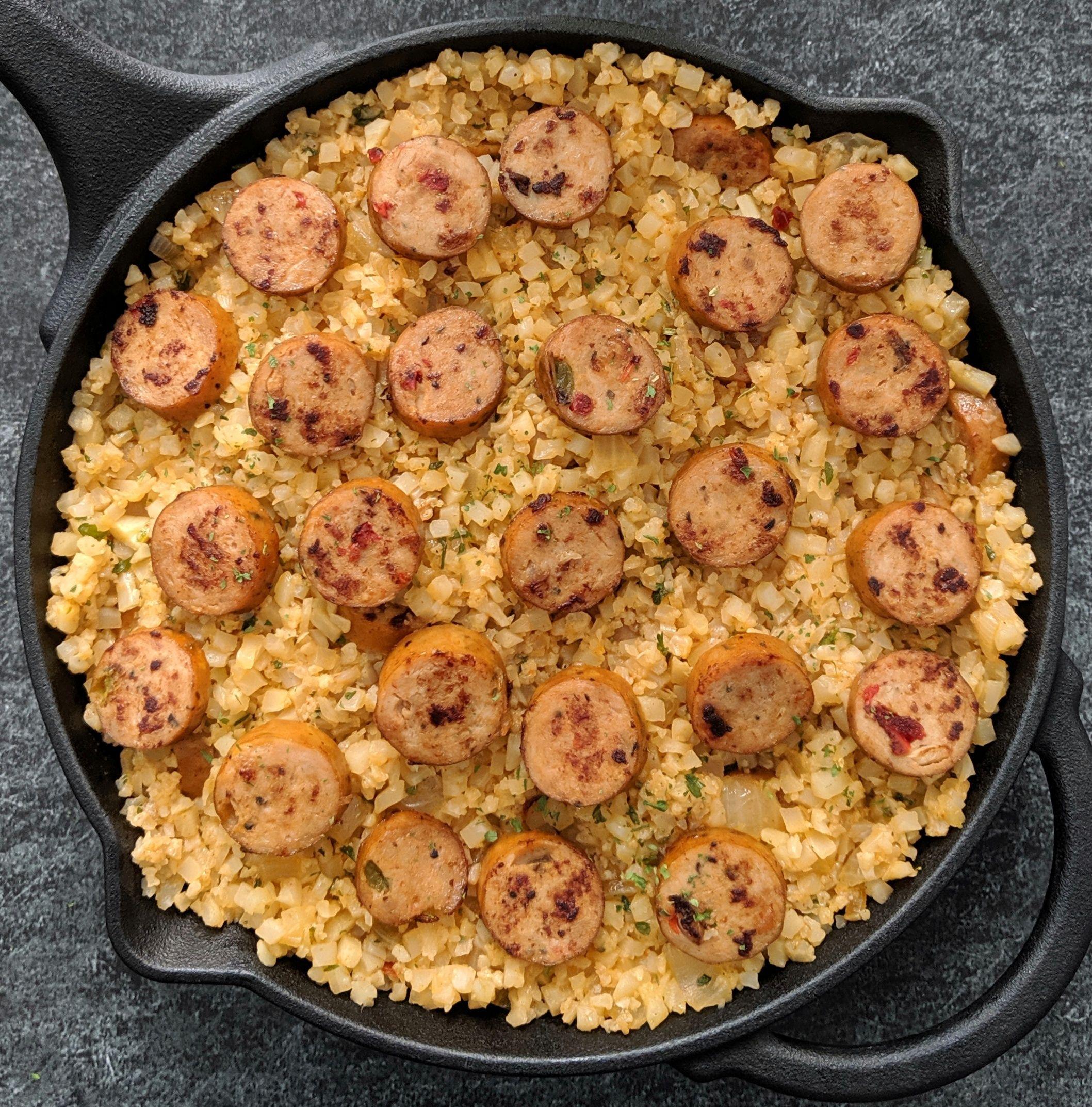 Keto chicken sausage cauliflower rice skillet in 2020