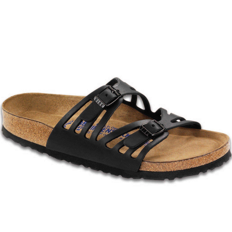 4016997ce57 Birkenstock Women s Granada Soft Footbed Oiled Leather Black Sandals ...