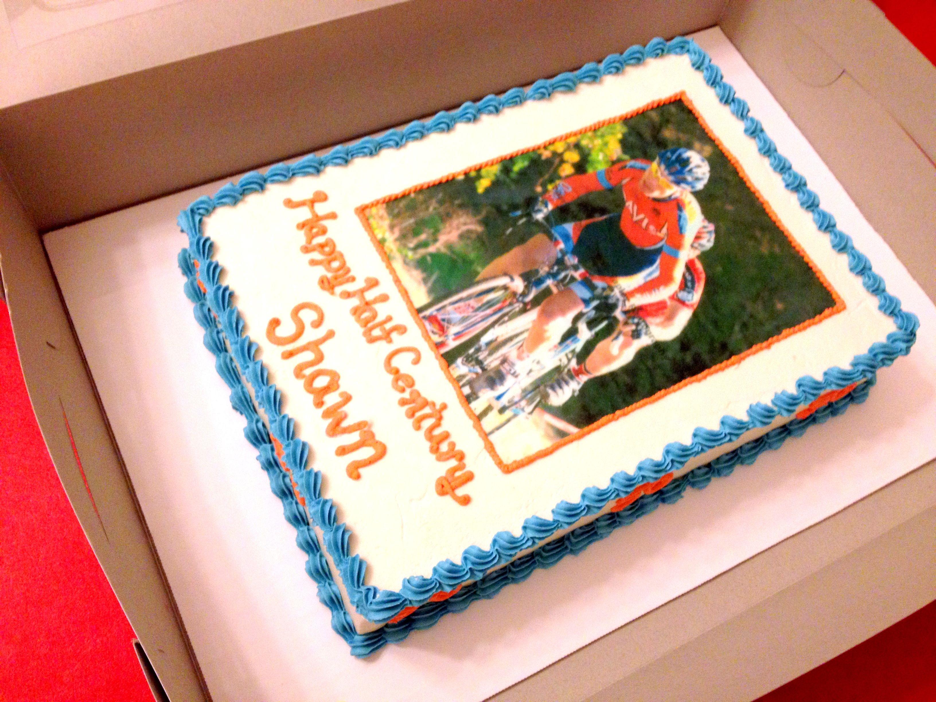 50th Birthday Sheet Cake With Computer Image Custom Cakes