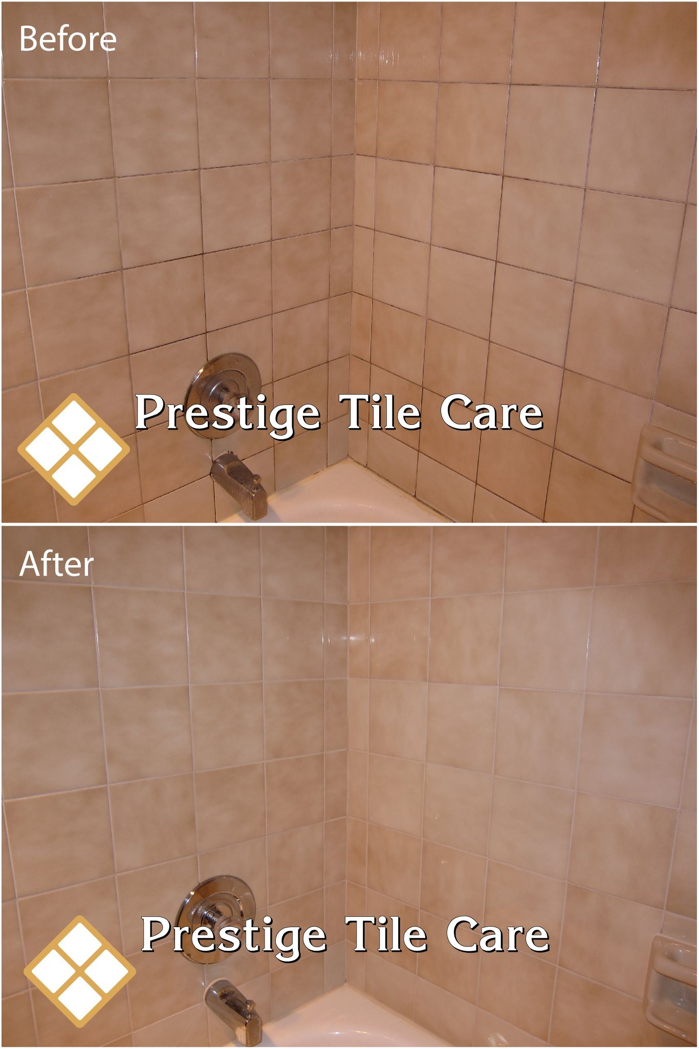 Cleaning Tan Shower Tiles And Regrouting With Bone Colored Grout Shower Tile Tile Care Tile Grout