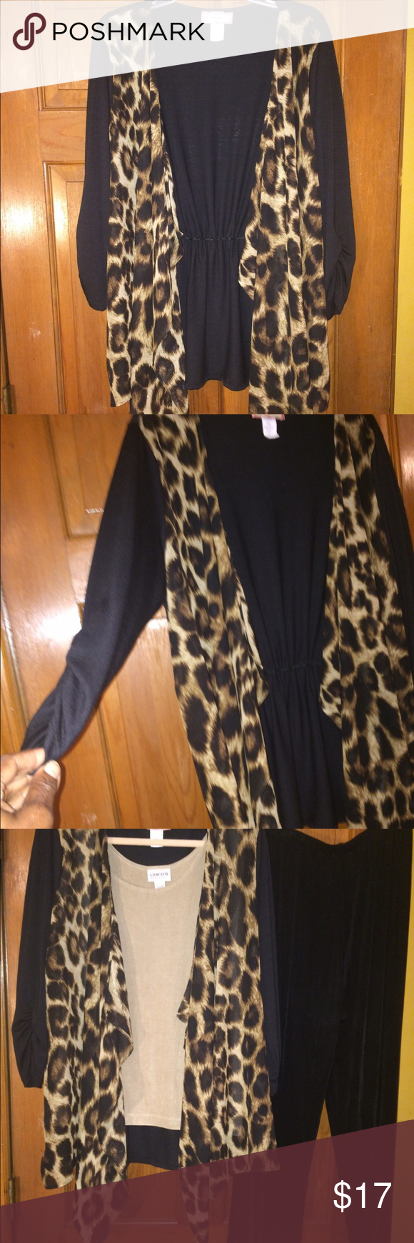 JUST REDUCED!!EUC, thisleopard & Black  Cardigan. EUC, this soft & Sassy leopard & Black  Cardigan, will help get your wardrobe ready for Fall, looks great with dress up or down, great look with jeans, you have to get this piece. C'est La Vie Sweaters Cardigans