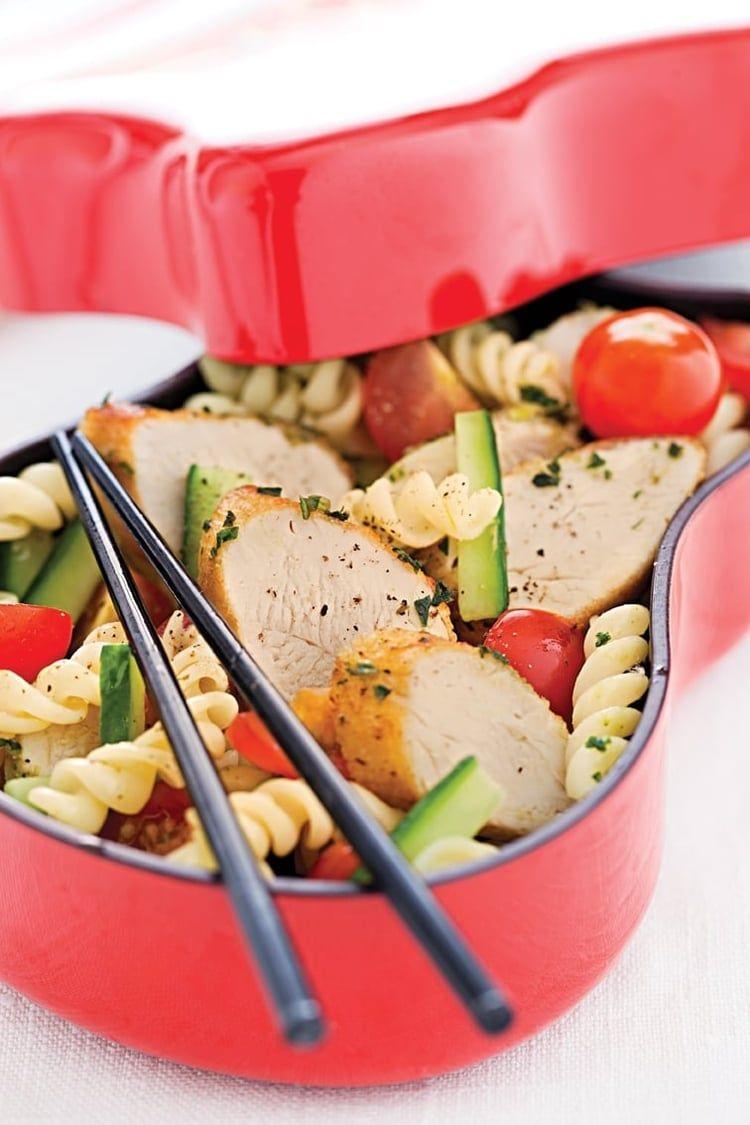 Salade de pâtes à l'émincé de poulet mariné au pesto ...