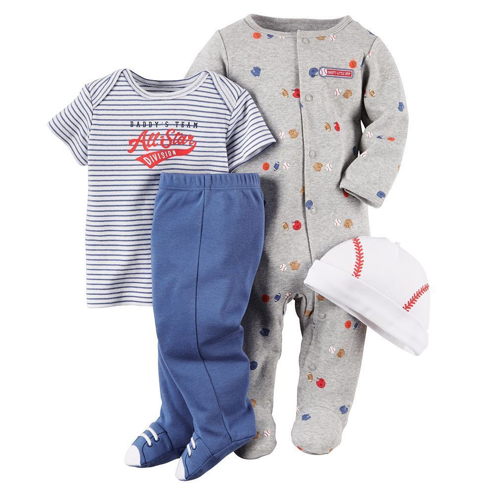 ae41fa76dfc0 Carters Newborn 3 6 9 Months Baseball Bodysuit Pants Hat Set Baby ...