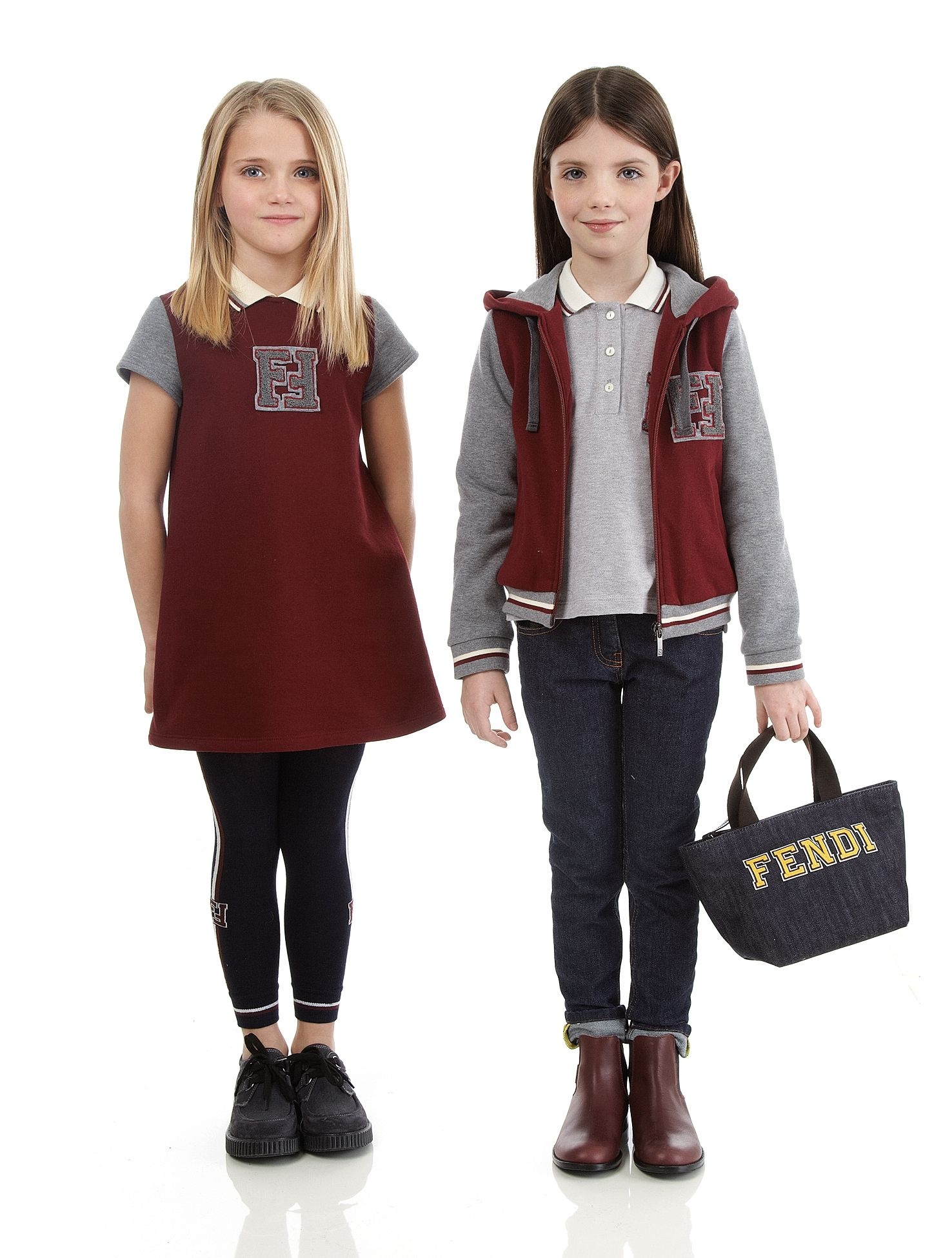 Burgundy and gray cotton jersey dress with FF logo sBlack