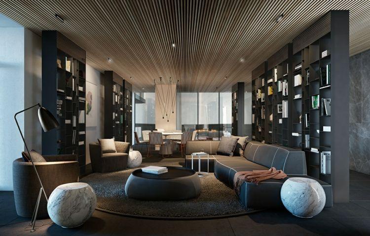 wohnzimmer grau naturstein holzlamellen #wohnzimmer #livingroom ...