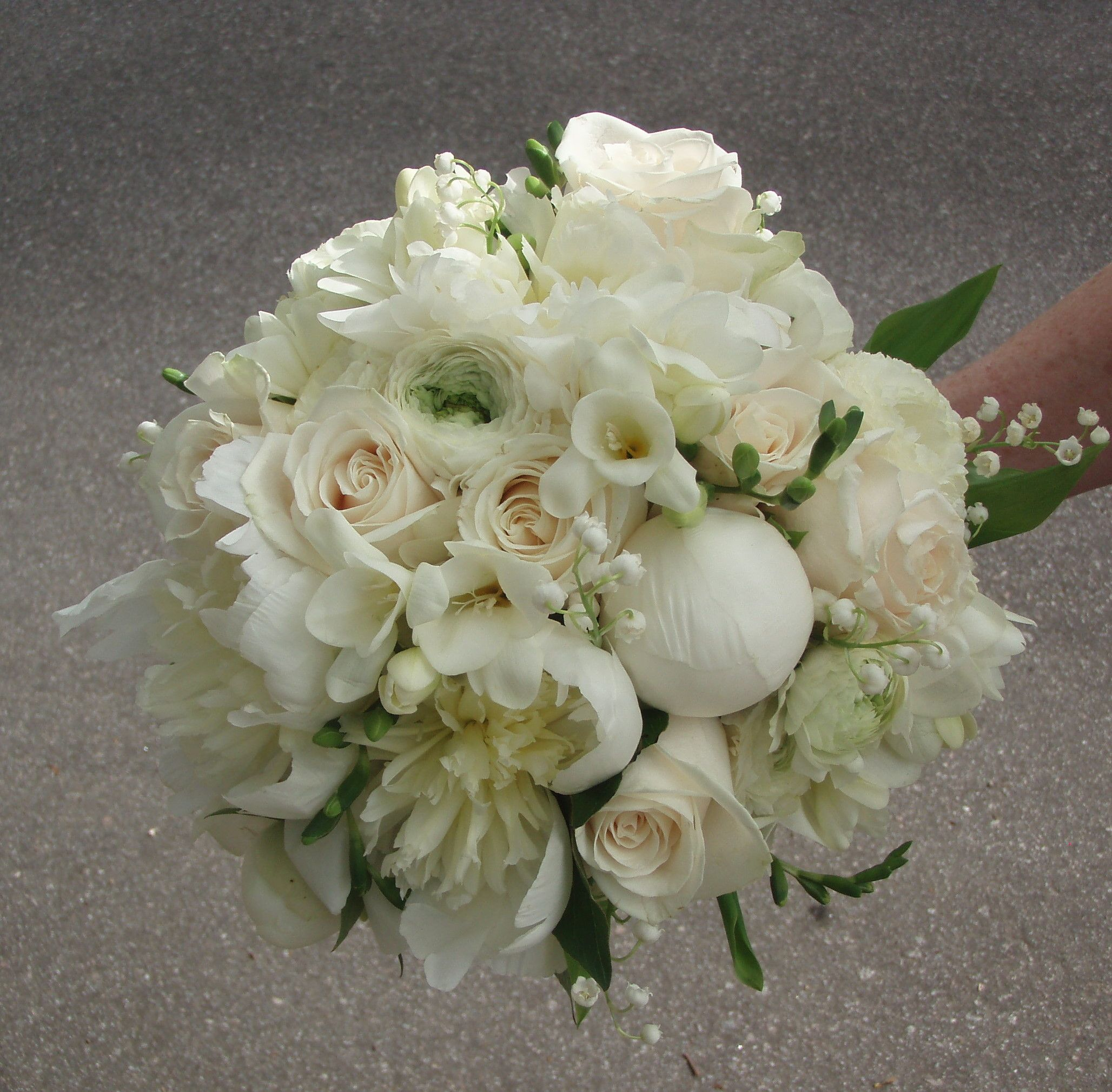 Lily Of The Valley Wedding Flowers: Peonies, Lily Of The Valley, Freesia, Ranunculas, Vendela