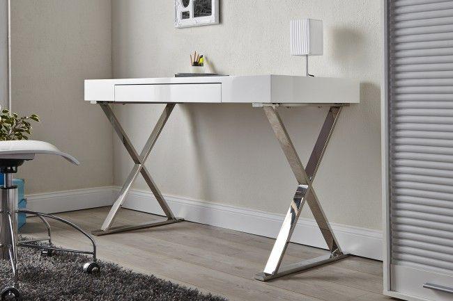 Design Schreibtisch GRACE high gloss weiß Schublade - Unser ...