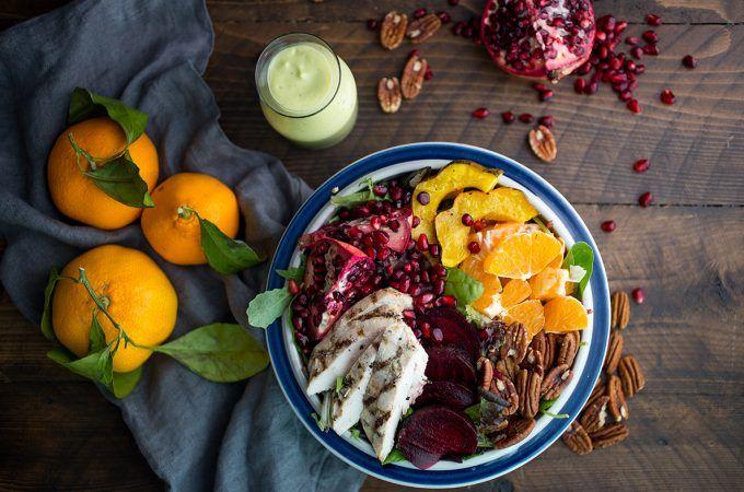 Winter Harvest Salad with Avocado Citrus Dressing