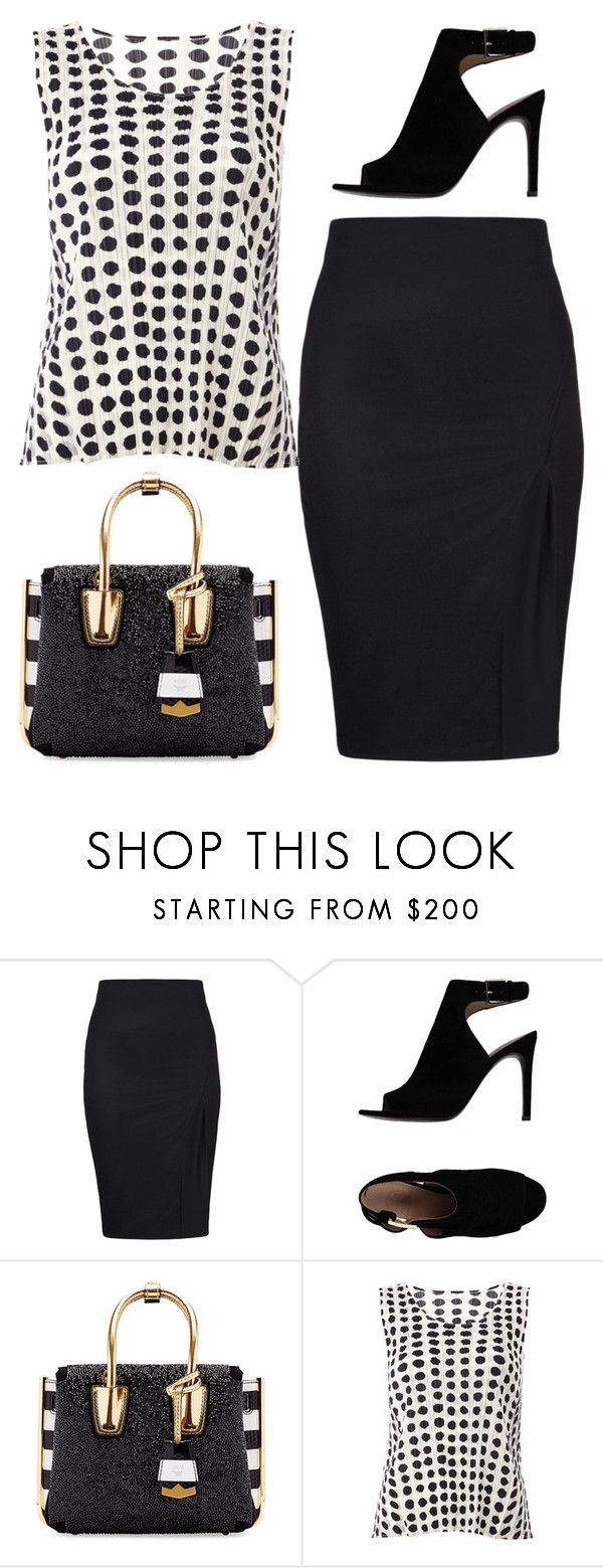"""Black Skirt"" by dazzling-dazed-dayz ❤ liked on Polyvore featuring Tory Burch, MCM and Pleats Please by Issey Miyake"